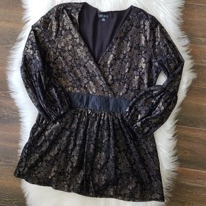 B2G1 Nine West Gold/Black Lace Holiday Wrap Blouse